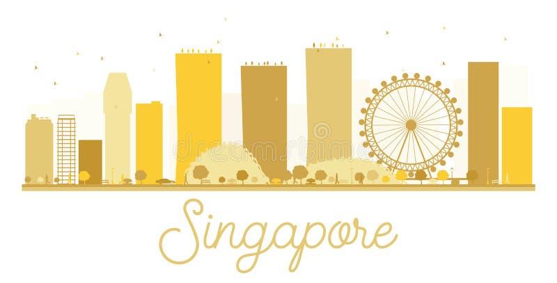 Van de de Stadshorizon van Singapore het gouden silhouet stock illustratie