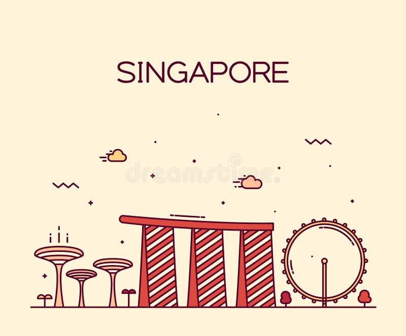 Van de de Stadshorizon van Singapore In vector de lijnart. vector illustratie