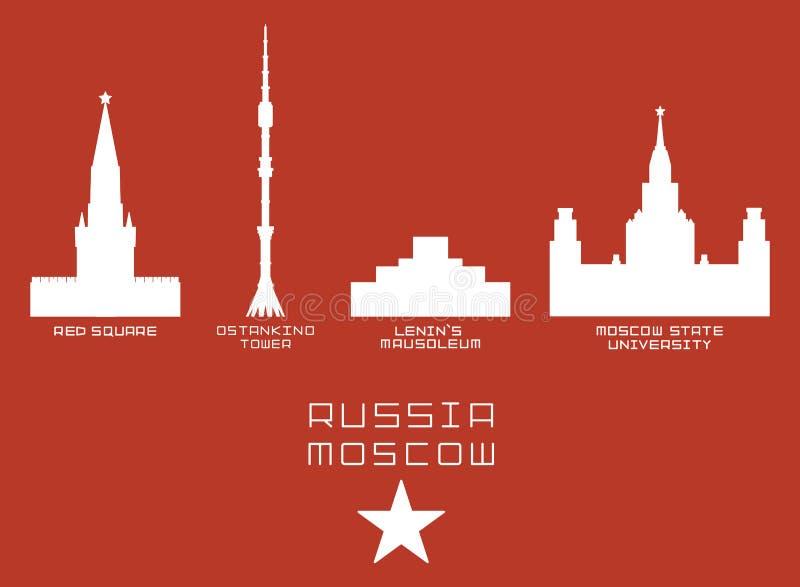 Van de de stadsvorm van Rusland Moskou geplaatst het silhouetpictogram - Rood stock illustratie