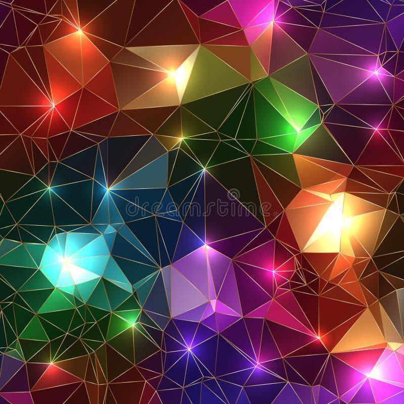 Van de de steenrots van de luxe kleurrijke fonkelende glanzende gloeiende gem de driehoeksachtergrond vector illustratie