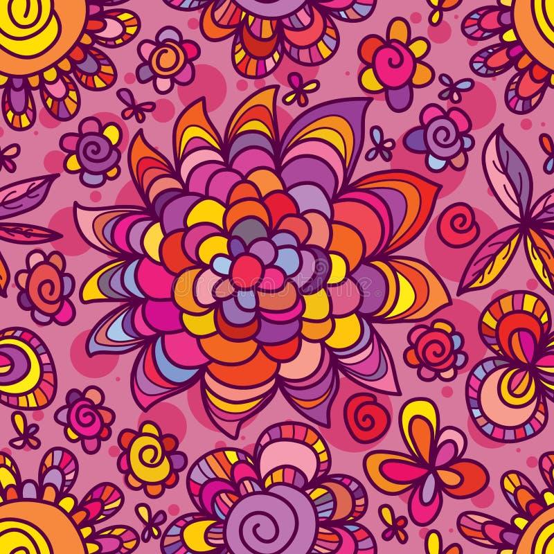 Van de de stijljacht van de bloemtekening de zon naadloos patroon royalty-vrije illustratie