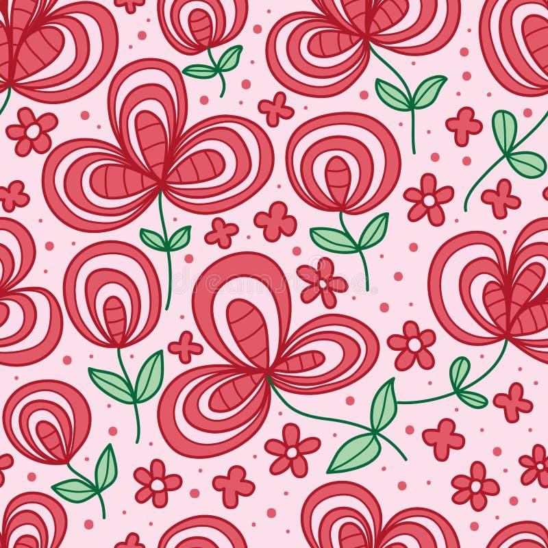 Van de de stijlpaddestoel van de bloemlijn het naadloze patroon stock illustratie