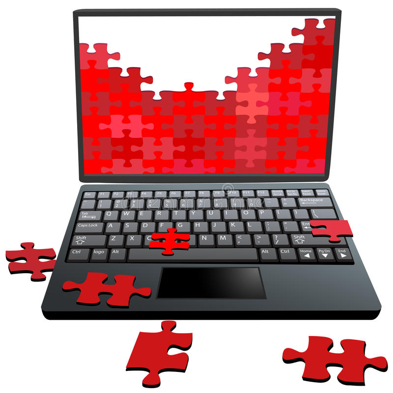 Van de de stukkencomputer van de puzzel de problemenreparatie vector illustratie