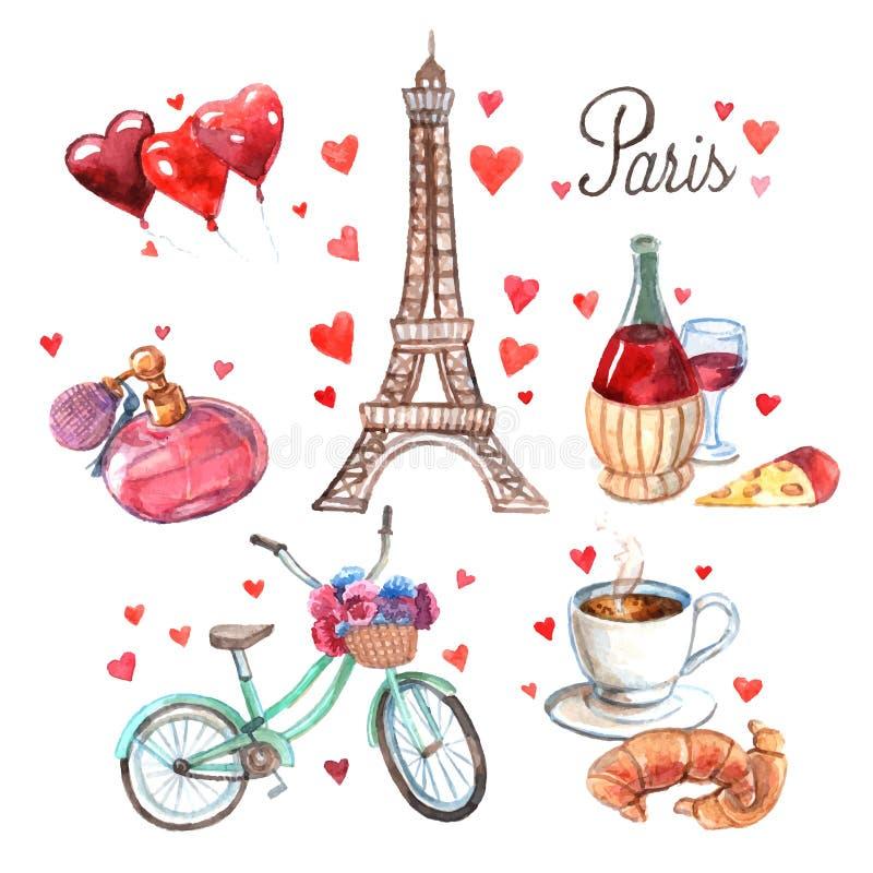 Van de de symbolenwaterverf van Parijs de pictogrammensamenstelling stock illustratie