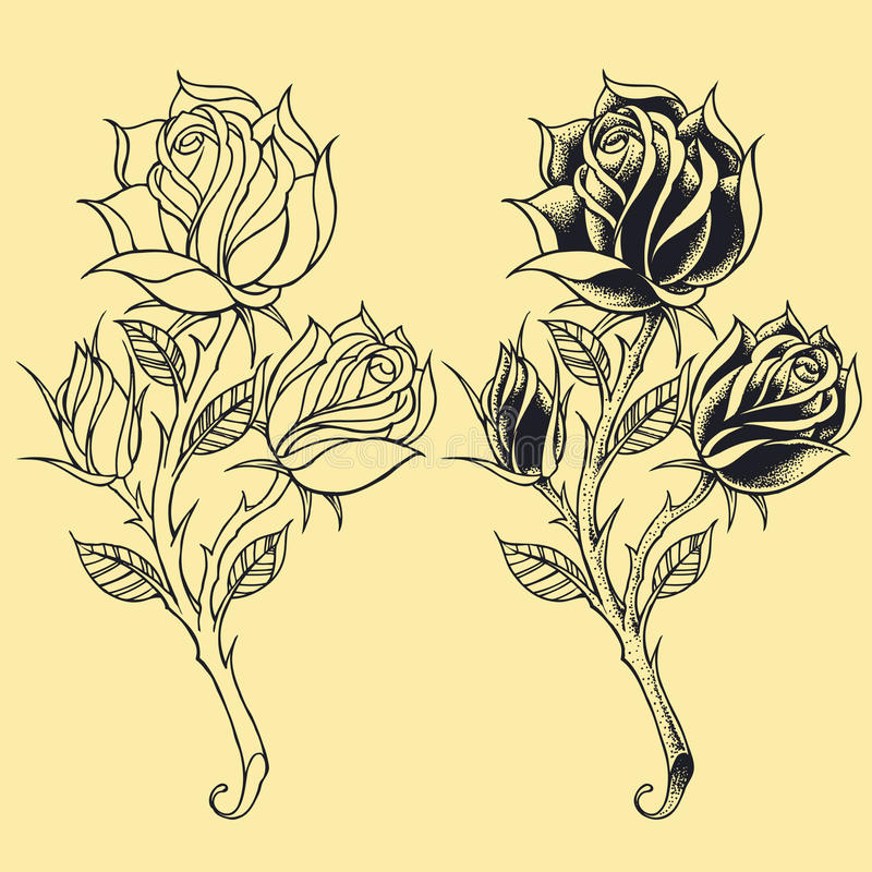 Van de de Tatoegeringsstijl van rozenoldskool elementen 02 stock illustratie