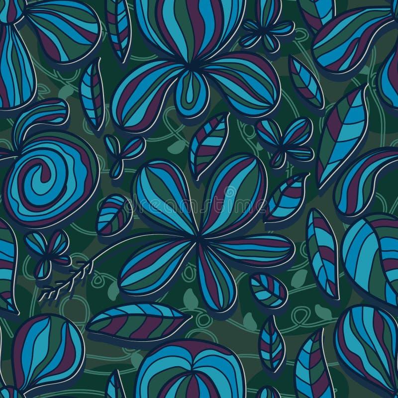 Van de de tekeningslijn van het bloembloemblaadje de kleuren naadloos patroon vector illustratie