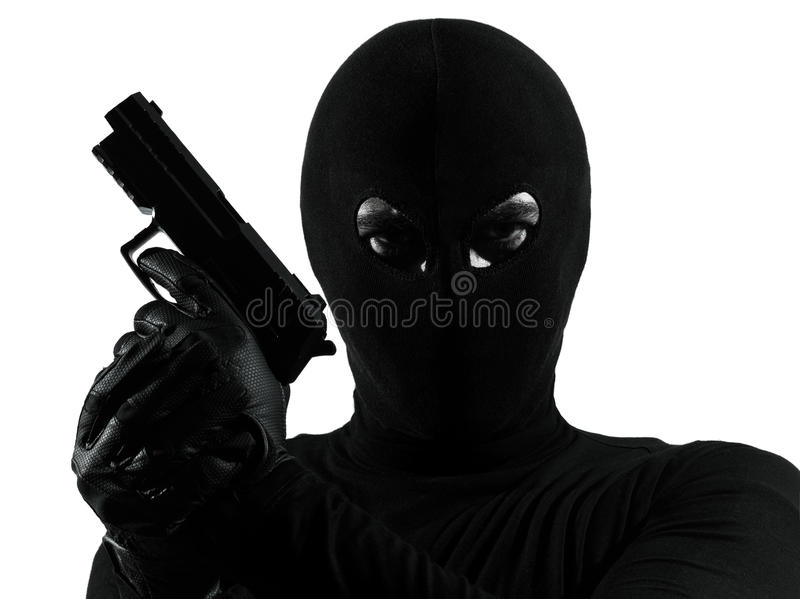 Van de de terroristenholding van de dief misdadig het kanonportret stock afbeeldingen