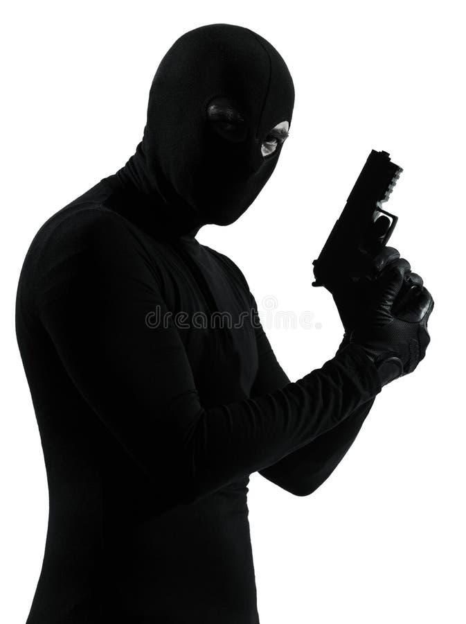 Van de de terroristenholding van de dief misdadig het kanonportret royalty-vrije stock afbeelding