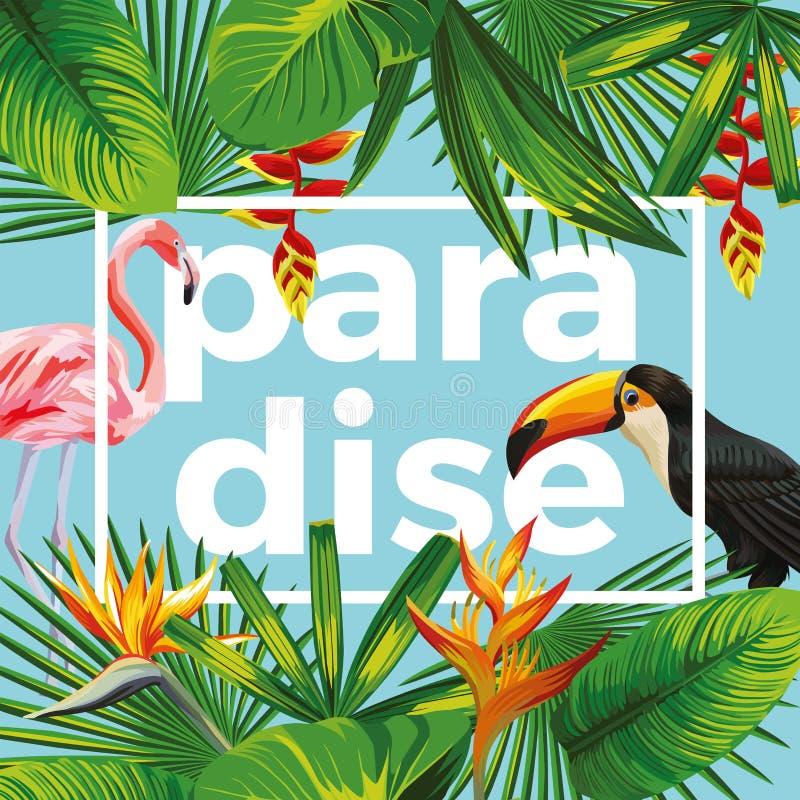 Van de de toekanflamingo van het sloganparadijs tropische de bladeren blauwe achtergrond royalty-vrije illustratie