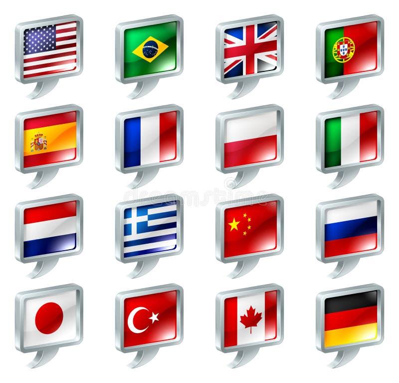 Van de de toespraakbel van de vlag de pictogrammenknopen stock illustratie