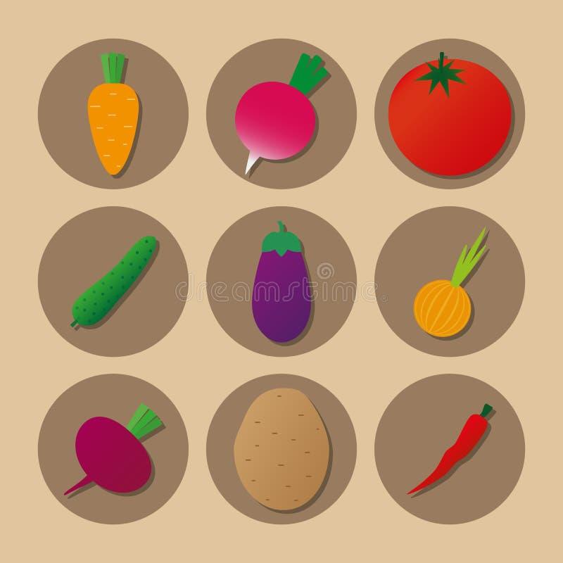 Van de de Tomatenaardappel van groentenpictogrammen van de de bietenwortel van de de komkommeraubergine de radijs van de de uipep stock foto