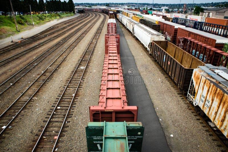 Van de de treinwerf van Seattle Interbay lege de doosauto's royalty-vrije stock afbeeldingen