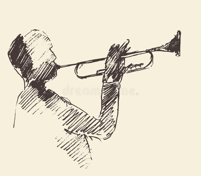 Van de de trompetmuziek van de jazzaffiche het akoestische concept royalty-vrije illustratie