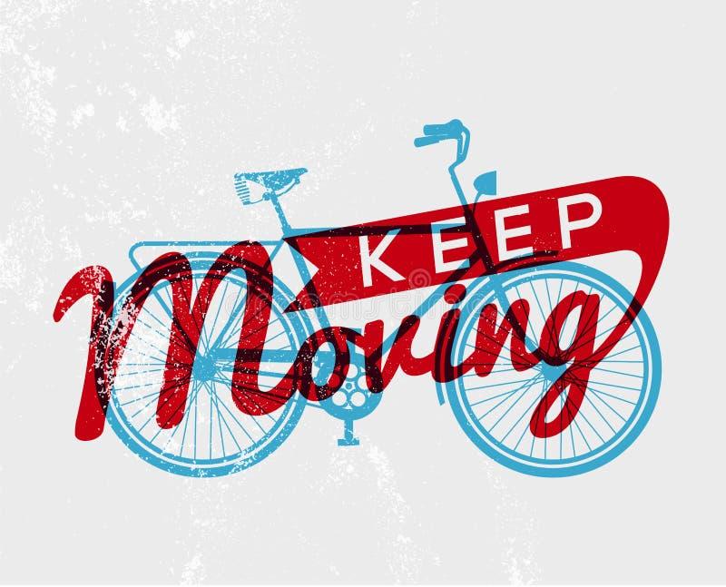Van de de typografieaffiche van het fietsconcept retro fiets stock illustratie