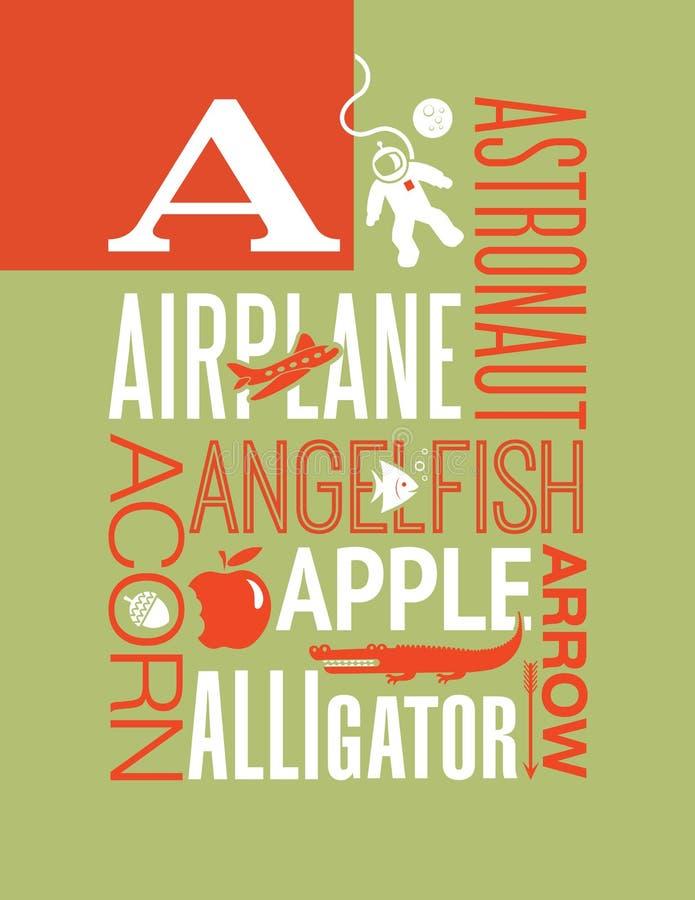 Van de de typografieillustratie van brievena woorden het ontwerp van de het alfabetaffiche vector illustratie