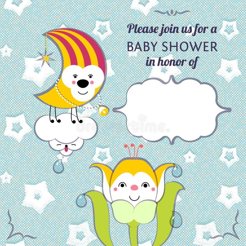 Van de de uitnodigingskaart van de babydouche het editable malplaatje funn royalty-vrije illustratie
