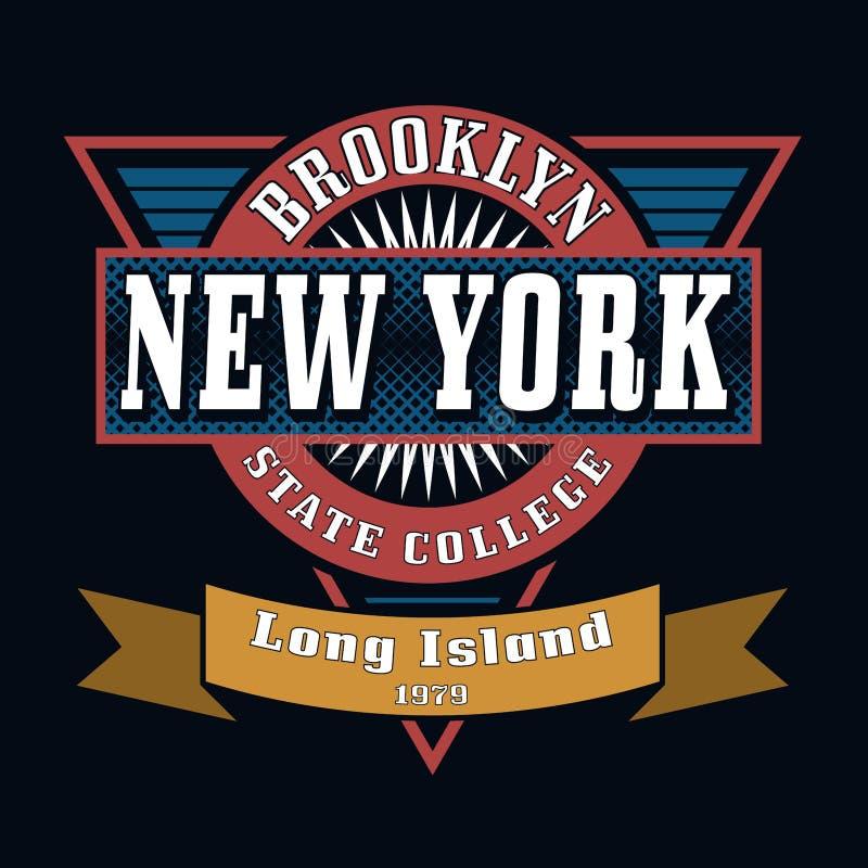 Van de de Universiteitst-shirt van de Staat van Brooklyn de Typografiegrafiek stock illustratie