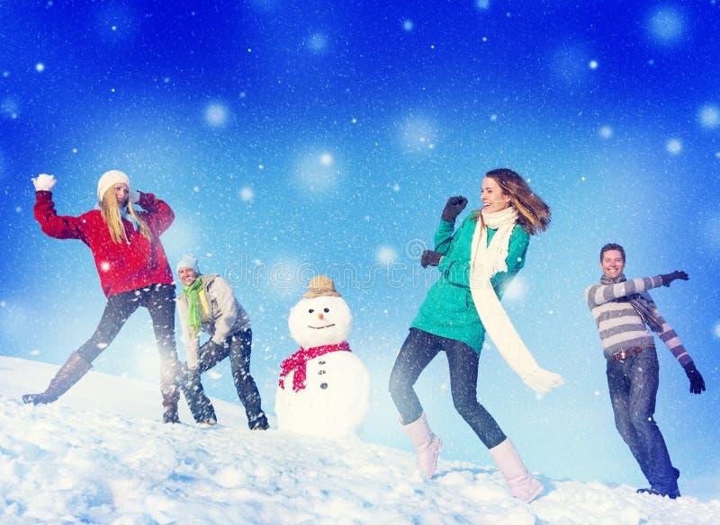 Van de de Vakantiewinter van Kerstmis Vrolijk Mensen de Vriendschapsconcept stock afbeelding