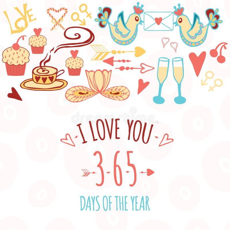 Van de de Valentijnskaartendag van heilige de kaartontwerp, cupcake, glazen stock illustratie
