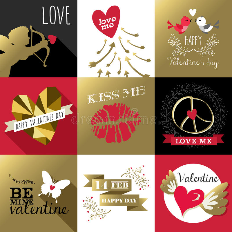 Van de de valentijnskaartendag van heilige van het de kaartetiket vastgestelde gouden retro vector illustratie