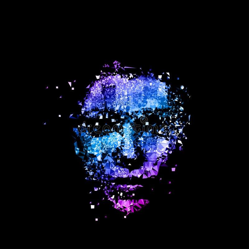 Van de de veelhoek de lichte dekking van het vrouwengezicht disco van de de affichepartij vector illustratie
