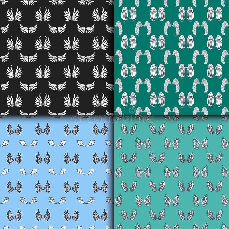 Van de de veerpignon van het vleugels de naadloze patroon dierlijke van de de vogelvrijheid van het de vredesontwerp vectorillust royalty-vrije illustratie