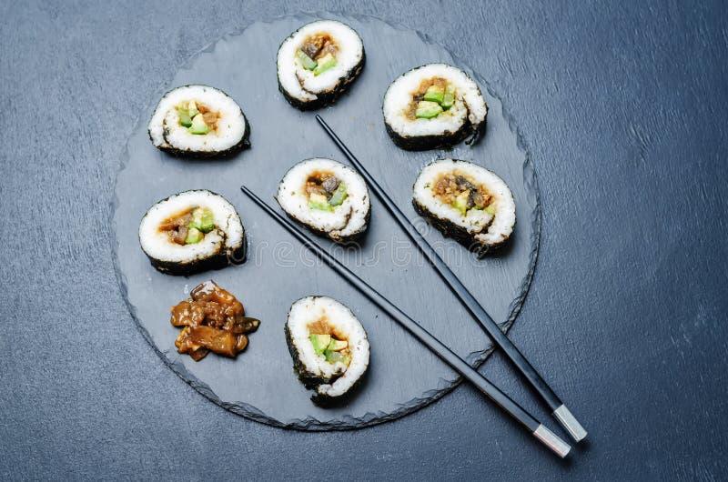 Van de de veganistavocado van aubergineteriyaki de komkommersushi stock afbeeldingen