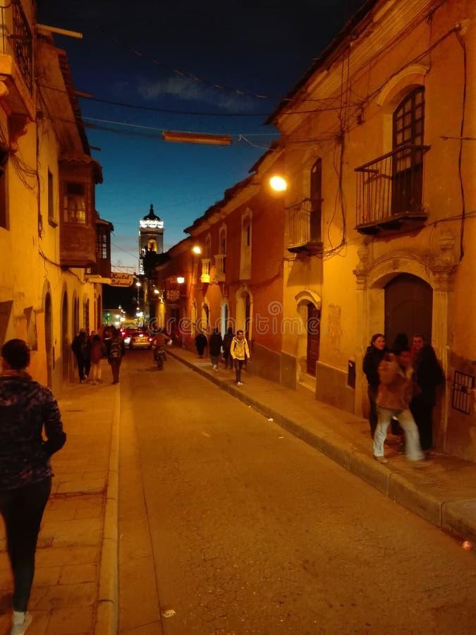 Van de de verhogingsnacht van Potosi de stadsstraat Bolivië royalty-vrije stock afbeelding