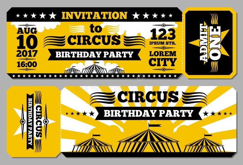 Van de de verjaardagskaart van het circuskaartje het vectormodel vector illustratie
