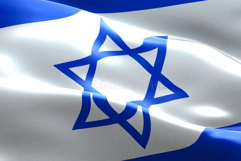 Van de de vlag golvende textuur van Israël de stoffenachtergrond, crisis van Jood en islam Palestina, risicooorlog stock illustratie