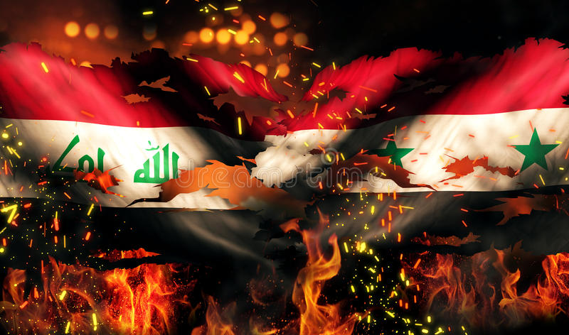 Van de de Vlag het Oorlog Gescheurde Brand van Irak Syrië Internationale 3D Conflict vector illustratie