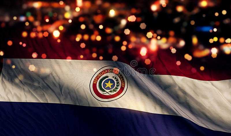 Van de de Vlag Lichte Nacht van Paraguay de Nationale Abstracte Achtergrond van Bokeh royalty-vrije stock foto's
