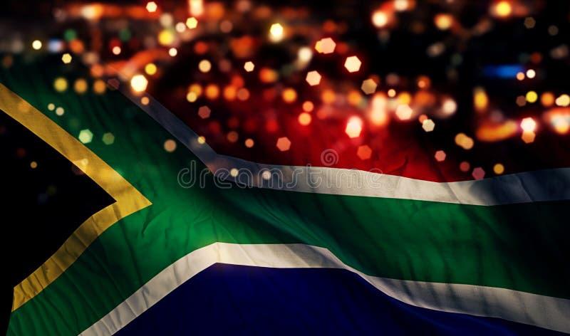Van de de Vlag Lichte Nacht van Zuid-Afrika de Nationale Abstracte Achtergrond van Bokeh royalty-vrije stock foto