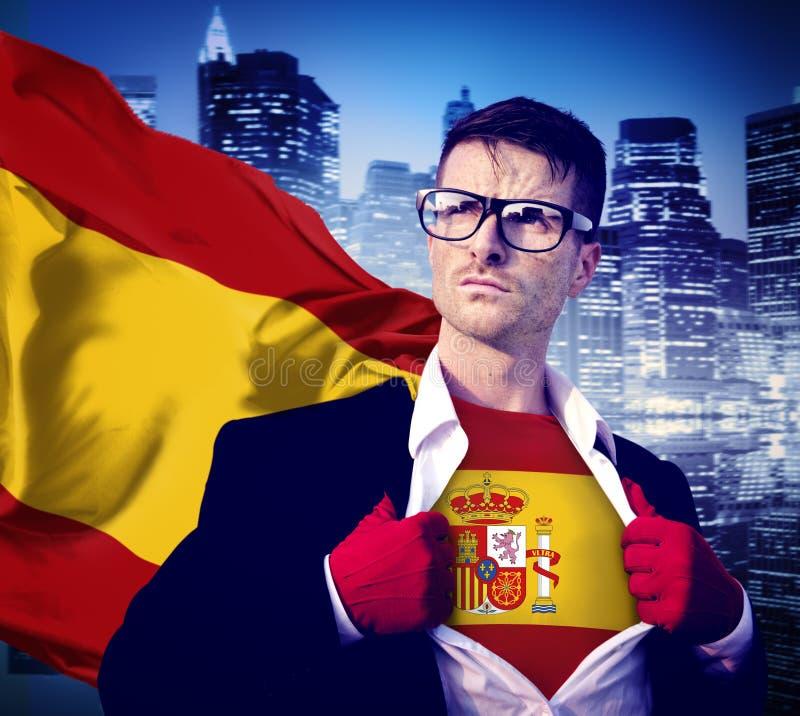 Van de de Vlagcultuur van zakenmansuperhero country spain de Machtsconcept stock foto