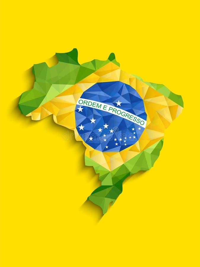 Van de de Vlagkaart van Brazilië de Geelgroene Blauwe Achtergrond royalty-vrije illustratie