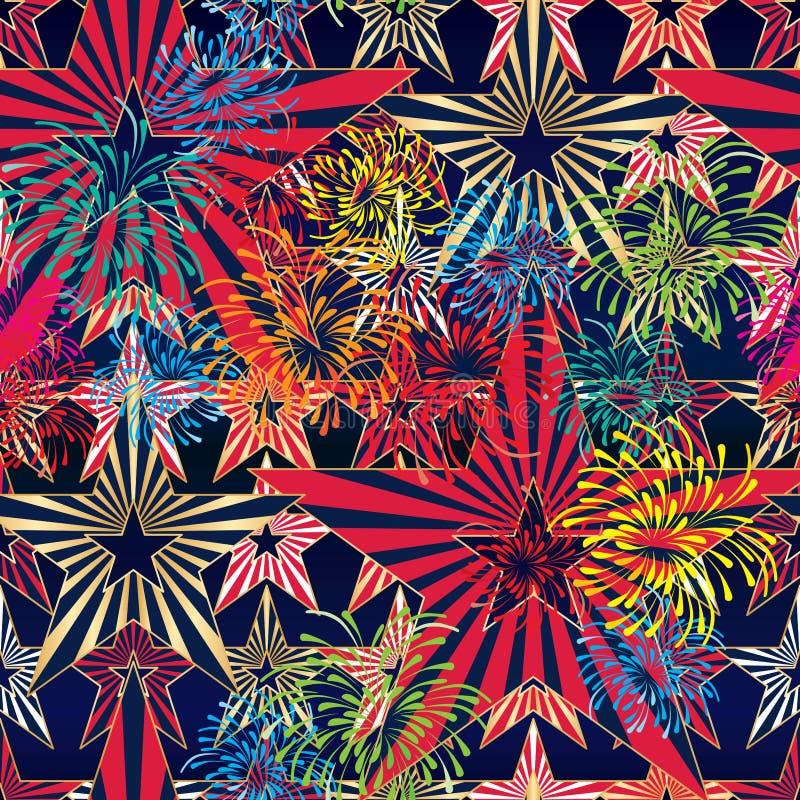 Van de de vlagster van de V.S. het vuurwerk naadloos patroon royalty-vrije illustratie