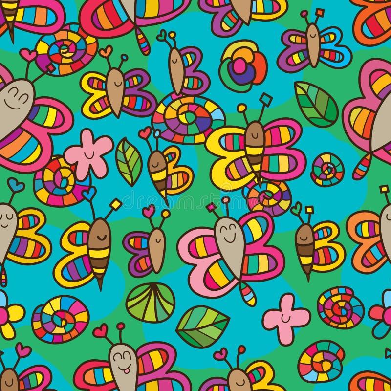 Van de de vlinderslak van de libelbij het gelukkige naadloze patroon stock illustratie