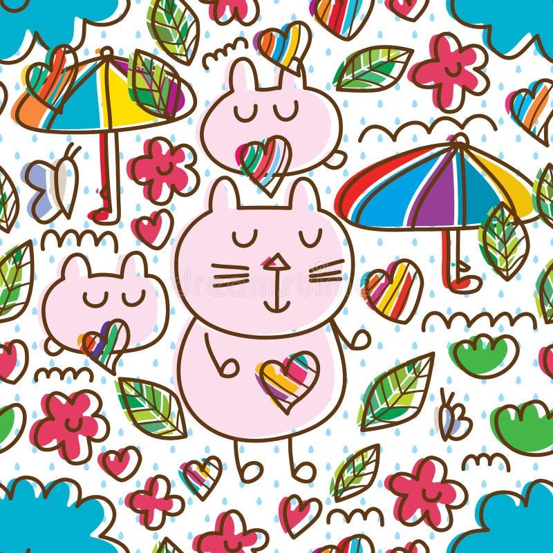 Van de de vlinderwolk van de beeldverhaal het leuke kat van de de lijnstijl naadloze patroon royalty-vrije illustratie