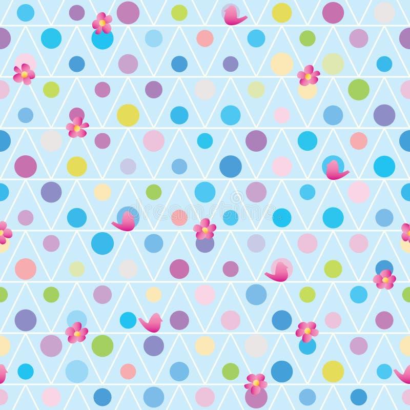 Van de de vogelbloem van de driehoekscirkel de vrienden naadloos patroon vector illustratie