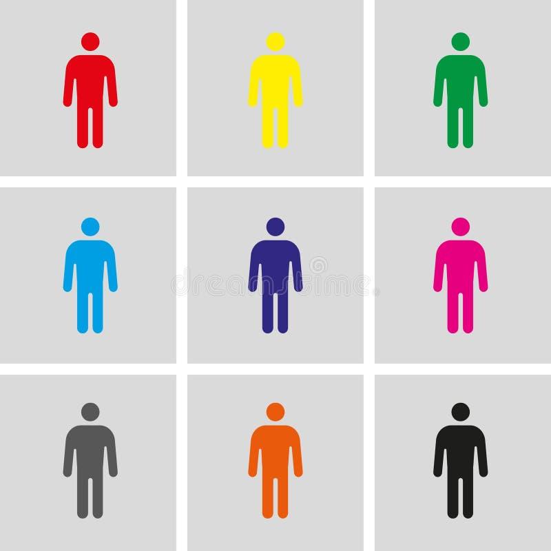 Van de de voorraad het vectorillustratie van het mensenpictogram vlakke ontwerp stock illustratie