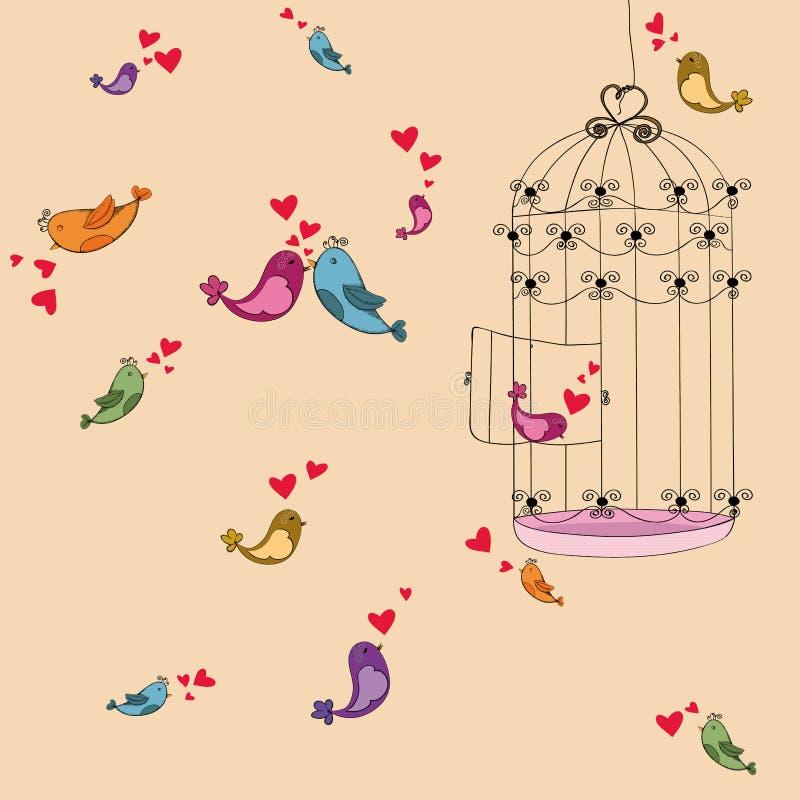 Van de de vrijheidsvogel van de valentijnskaart de liefdeachtergrond stock afbeeldingen - Decoratie kooi ...