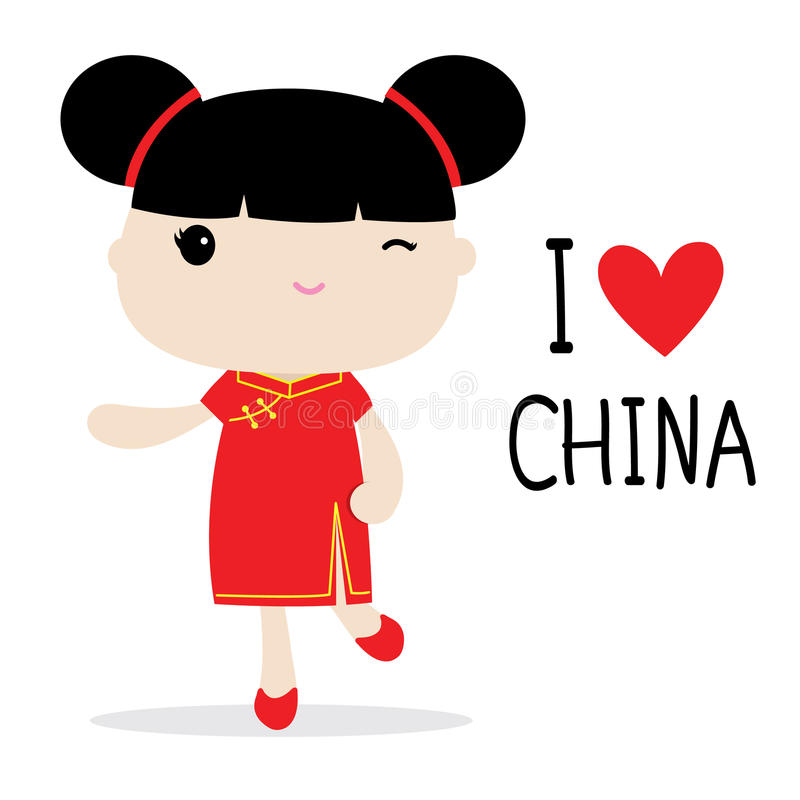 Van de de Vrouwen Nationale Kleding van China het Beeldverhaalvector stock illustratie
