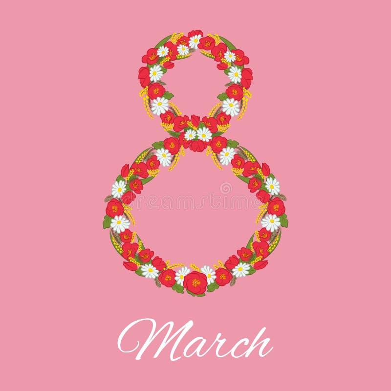 8 van de de Vrouwen` s Dag van Maart Internationale de groetkaart Mimosabloemen, tulp, kamille in de vorm van een cijfer acht wor stock illustratie