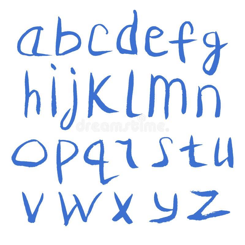Van de de Waterverfdoopvont van de Grunge het Met de hand gemaakte Kalligrafie Alfabet van de de Textuurinkt vector illustratie