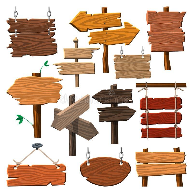 Van de de wegraad van het folder de houten uithangbord houten tablet die de manier op vectorillustratie wijzen van de indexpijlpu vector illustratie
