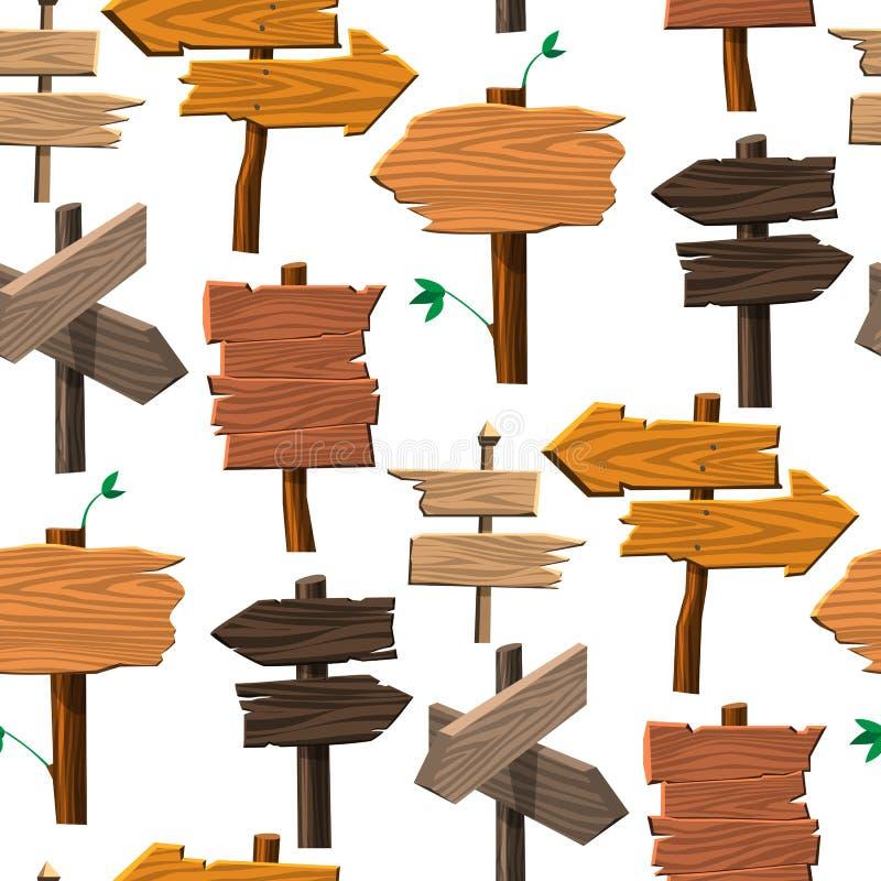 Van de de wegraad van het folder de houten uithangbord houten tablet die van de de manier op het vectorillustratie van de indexpi vector illustratie