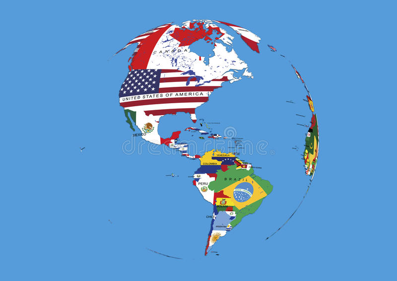 Van de de wereldbol van de het westenhemisfeer de vlaggenkaart stock illustratie