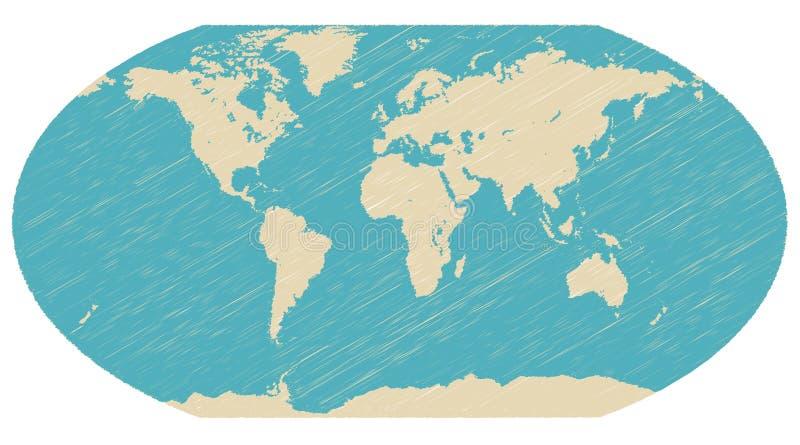 De bolkaart van de wereld stock illustratie