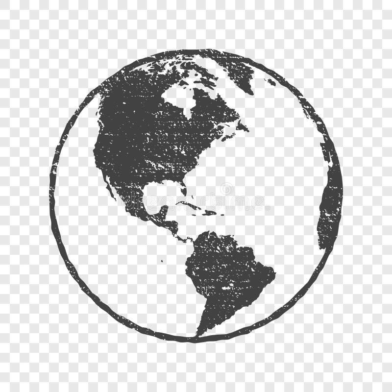 Van de de wereldkaart van de Grungetextuur de grijze transparante illustratie royalty-vrije illustratie