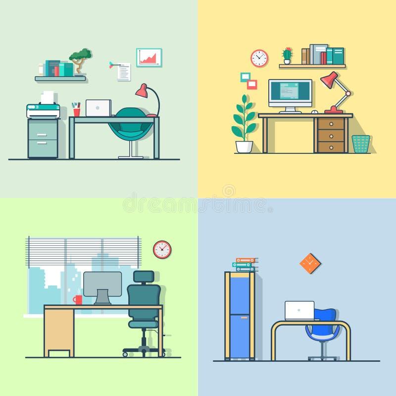 Van de de werkplaatslijst van de bureauruimte de stoel binnenlandse binnen royalty-vrije illustratie